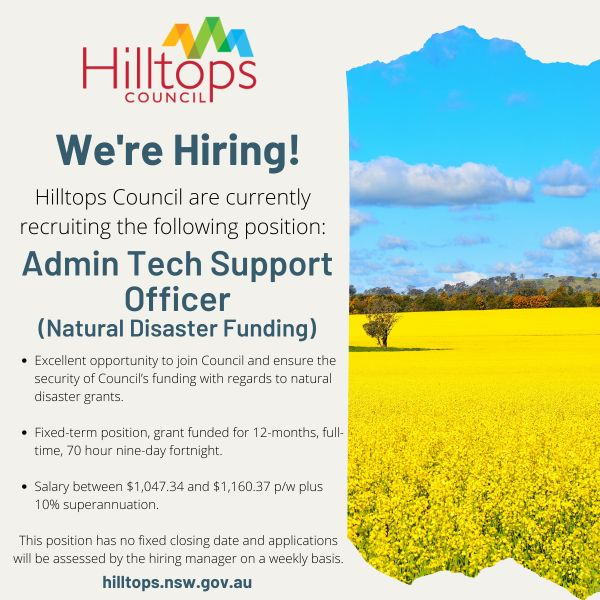 ADMIN TECH SUPPORT OFFICER – Natural Disaster Funding (NDF)